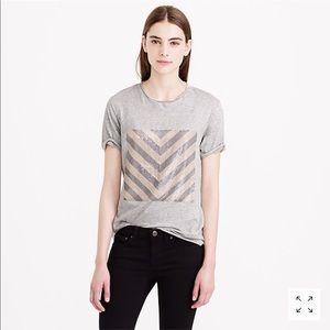 J. Crew Gray Sequin Chevron Short Sleeve T-Shirt